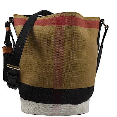 BURBERRY 格紋棉麻系列斜背水桶包(黑)
