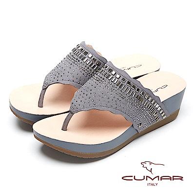 CUMAR奢華水鑽-大面積水鑽排列厚底夾腳鞋-灰色