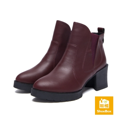 鞋櫃ShoeBox 短靴-拼接鬆緊帶粗中跟踝靴-酒紅