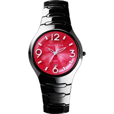 Relax Time Sweet Candy 甜心點點女孩陶瓷腕錶-桃紅x黑/37mm
