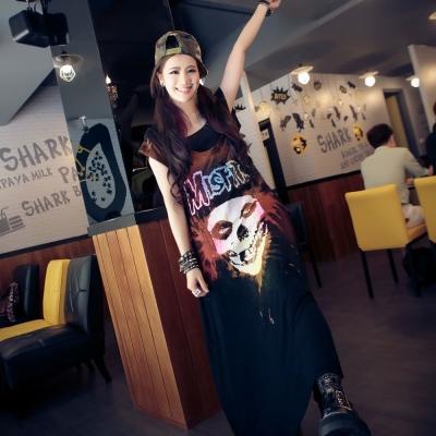 古著 中大尺碼 MISFIT骷髏頭鬼面具咖啡刷色棉洋裝