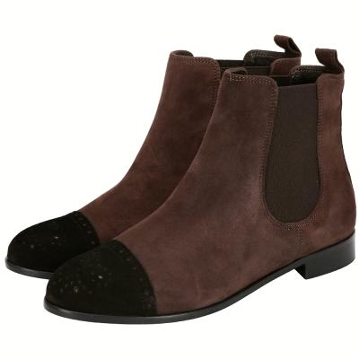 anna baiguera 麂皮雕花拼接低筒靴(咖啡色)