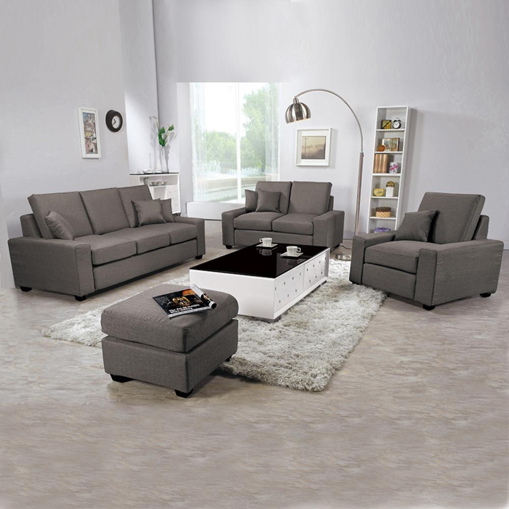 Boden-布拉格灰色布沙發組(附抱枕)(1+2+3+腳椅)