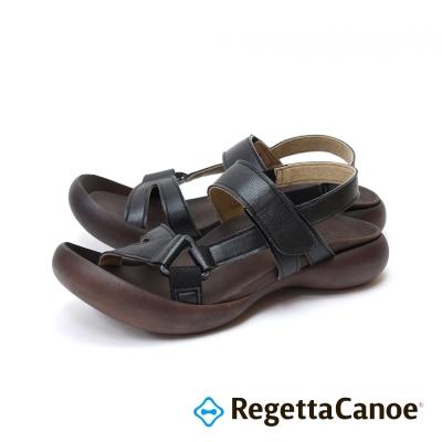 RegettaCanoe-交叉皮革鞋面款樂步鞋-經典黑