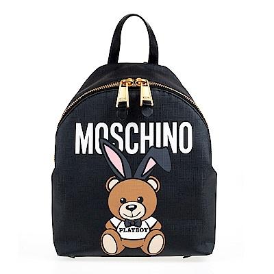 MOSCHINO PLAYBOY聯名款小熊圖案尼龍手提/後背包(黑色)