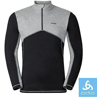 【瑞士 ODLO】限量款 男控溫半門襟高彈性輕量長袖保暖中層衣.運動排汗衫_黑/灰