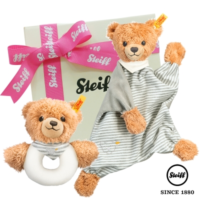 STEIFF德國金耳釦泰迪熊 - 安撫巾+手搖鈴  晚安熊 (寶寶禮盒)