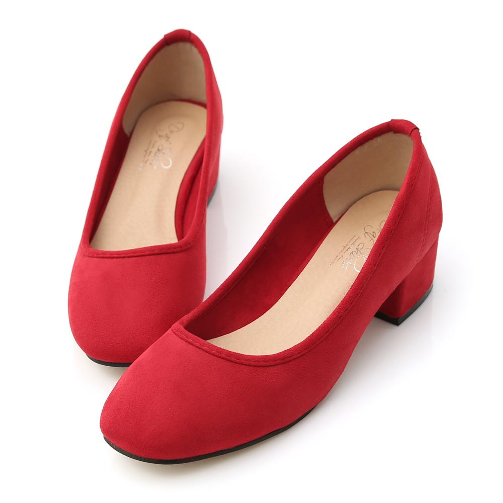 D+AF 時尚春氛‧素面絨料小方頭粗跟鞋*紅