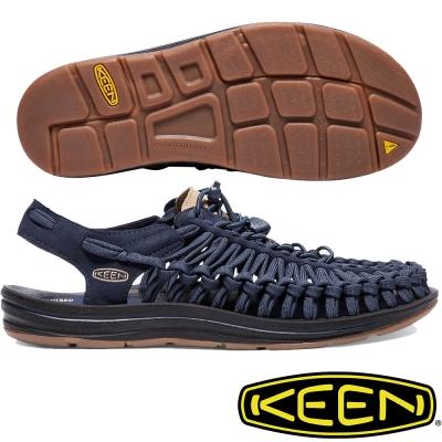 KEEN Uneek Flat 男戶外編織涼鞋 1017844 深藍