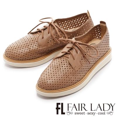 Fair Lady Soft Power 軟實力 透氣鏤空綁帶牛津鞋 焦糖