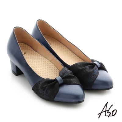 A.S.O 拇指外翻 真皮雙色蝴蝶結飾釦奈米尖頭低跟鞋 藍色