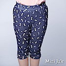 Mini Jule 童裝-內搭褲 蝴蝶結印花鬆緊內搭褲(深藍)