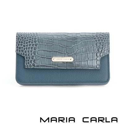 MARIA CARLA 設計師絕版系列 磁釦式多格層長夾 藍