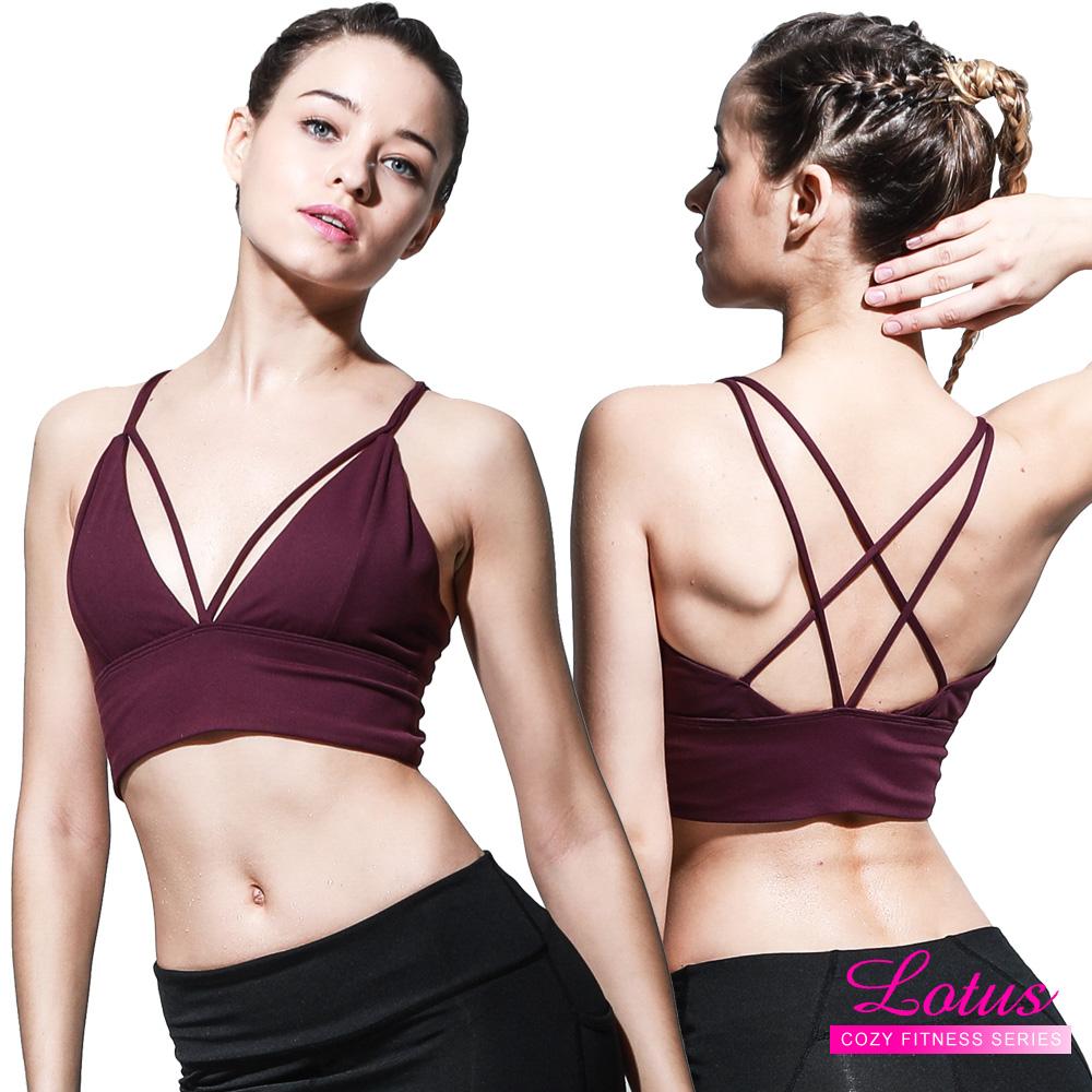 運動內衣 心機交叉設計美背運動內衣-波爾多紫 LOTUS