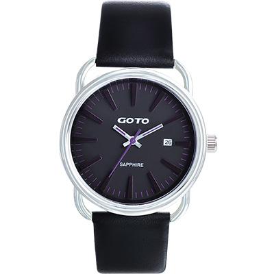 GOTO 幾何極簡日期時尚腕錶-黑x深紫時標/38mm