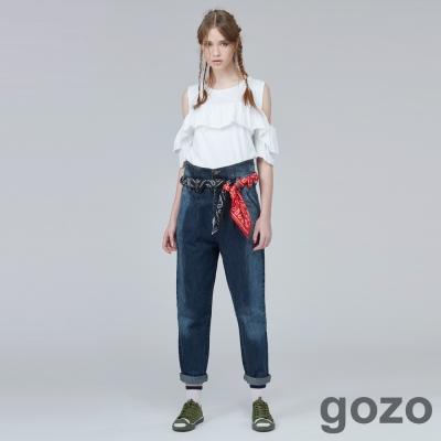 gozo隨興藝術家復古男友牛仔褲-二色