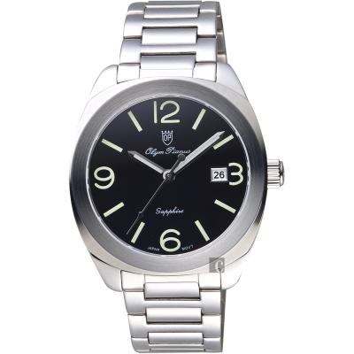 Olympianus 奧柏 經典復刻手錶-黑x銀/40mm