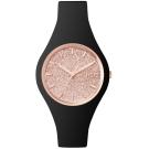Ice-Watch 璀璨系列 光彩晶鑽手錶 S - 黑x玫瑰金/38mm