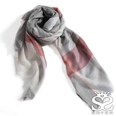 SOFER-優雅格紋100-喀什米爾保暖披肩-圍巾-氣質灰