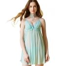 思薇爾 啵時尚花漾女神系列蕾絲刺繡性感連身小夜衣(汽水綠)