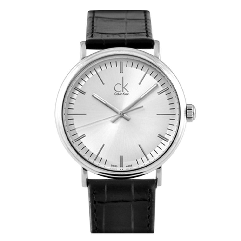 cK Surround 經典大三針紳士皮帶腕錶-銀白/43mm
