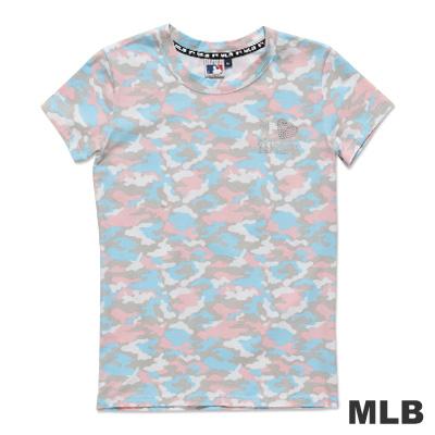 MLB-紐約洋基隊滿版迷彩圓領愛心燙銀印花T恤-粉紅(女)