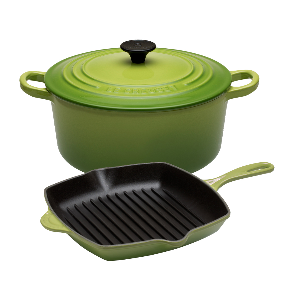 LE CREUSET鑄鐵圓鍋26cm棕櫚綠鑄鐵單柄方型烤盤26cm棕櫚綠
