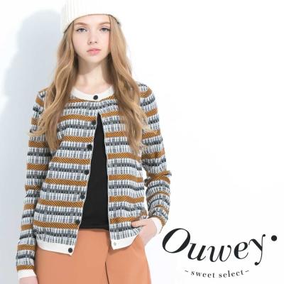 OUWEY歐薇-條紋前釦假兩件針織上衣