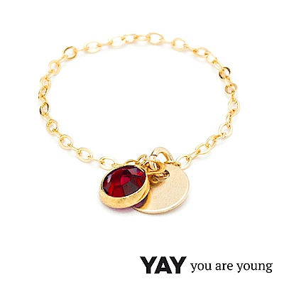 YAY You Are Young 法國品牌 Sultane 紅水晶鍊戒 金色