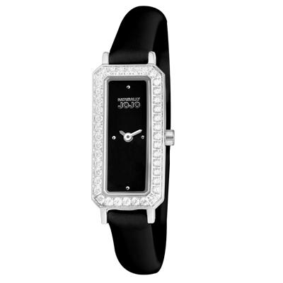 NATURALLY JOJO 光燦名媛經典方款時尚腕錶-黑/ 16 mm
