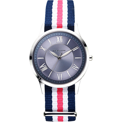 Relax Time 經典學院風格腕錶-藍x粉/36mm