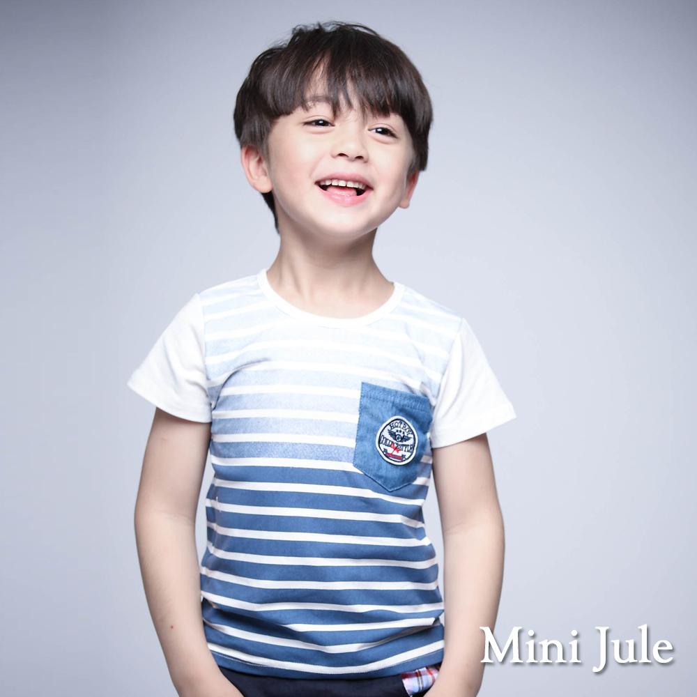 Mini Jule-上衣 仿單寧口袋漸層條紋棉T(藍)