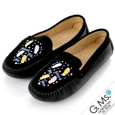 G.Ms.  親子鞋-麂皮X牛皮彩繪貼鑽休閒鞋-甜蜜黑