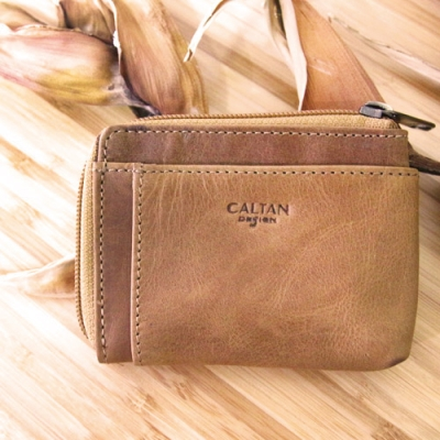 CALTAN-女用真皮皮夾鈔票卡片皮件L型拉鍊卡片