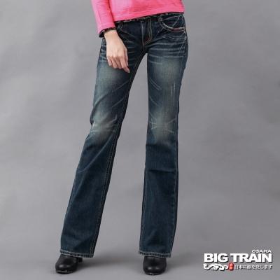 BIG TRAIN-女款 街頭低腰寬直筒褲-中深藍
