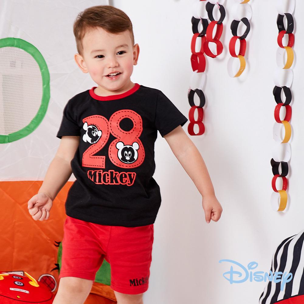 Disney 帥氣米奇休閒上衣+短褲兩入組 黑色