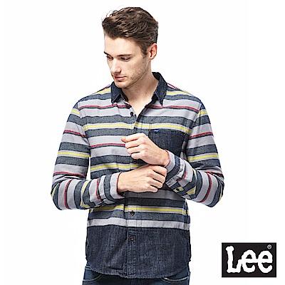 Lee 法蘭絨長袖襯衫-男款-麻灰
