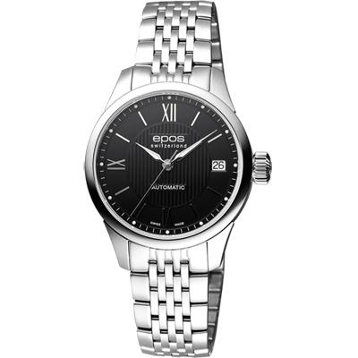 epos 原創系列羅馬機械女錶-黑x銀/34mm
