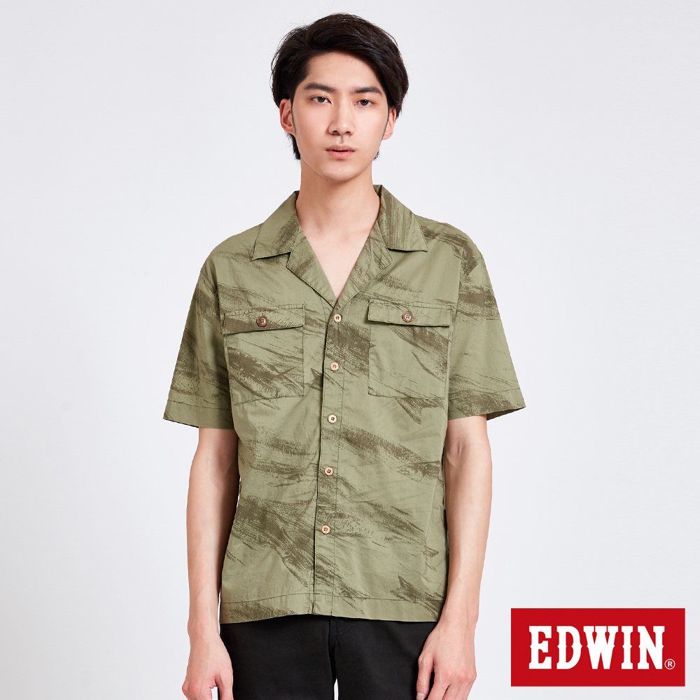 EDWIN 築地系列魚拓印花短袖襯衫-男-橄欖綠