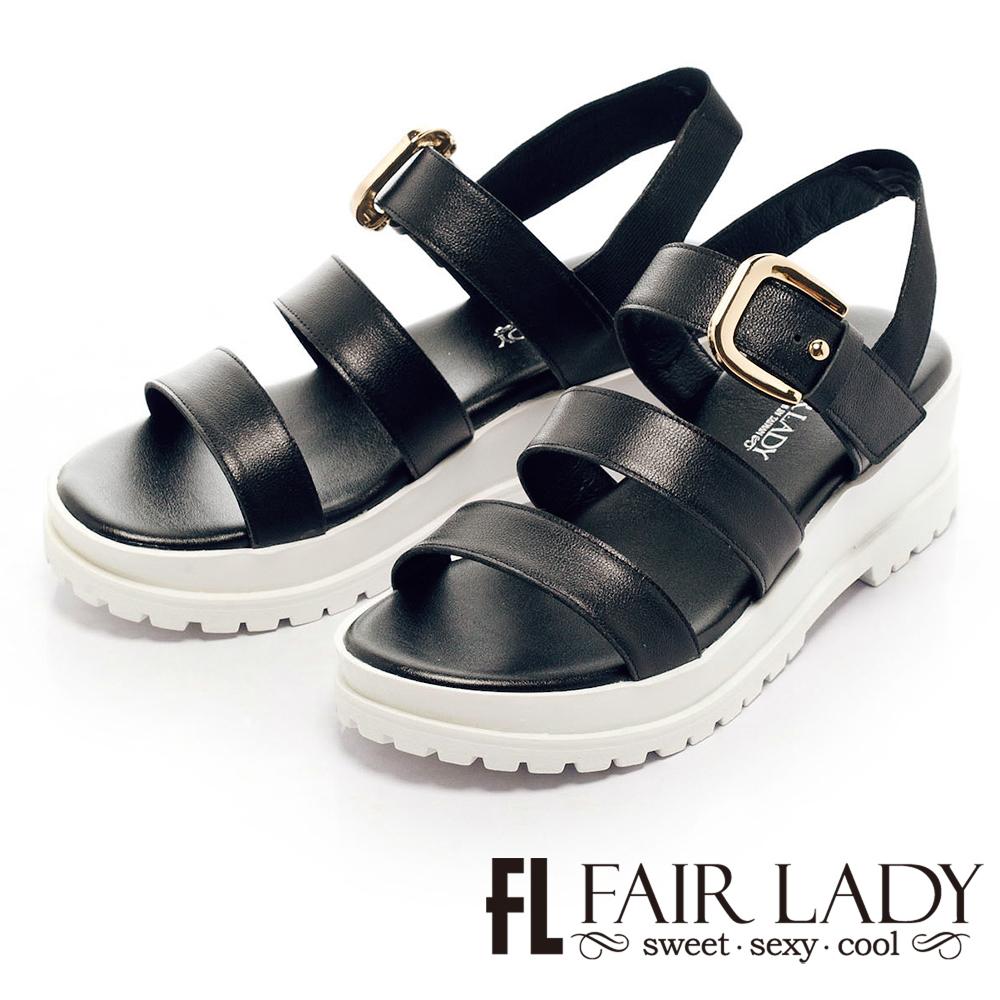 Fair Lady  韓式羅馬一字厚底涼鞋 黑