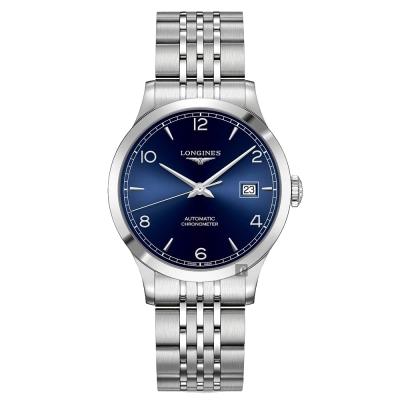 LONGINES浪琴 Record 開創者天文台認證矽游絲機械錶-藍x銀/40mm L28214966