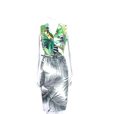 Max Mara 白色V領叢林印花無袖洋裝(附腰帶)