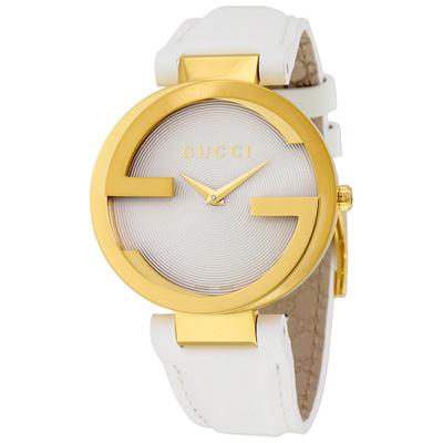 GUCCI 古馳 Interlocking 經典雙G石英腕錶-銀x金框/37mm