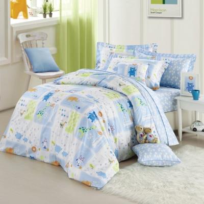 開心下雨天-藍-精梳棉-加大四件式兩用被床包組
