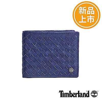 Timberland 藍色牛皮編織短夾錢包