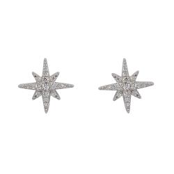 apm MONACO法國精品珠寶 閃耀銀色繁星鑲鋯耳針式耳環