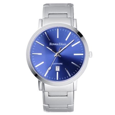 Roven Dino羅梵迪諾 色彩抉擇時尚日期腕錶-藍X銀/40mm