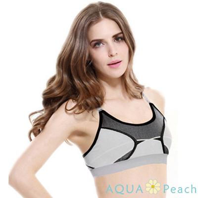 運動內衣 混色線條交錯無鋼圈內衣 (灰色)-AQUA Peach