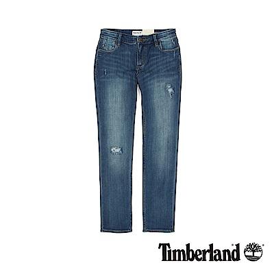 Timberland  女款穿舊感淺靛藍色Parka Lake 緊身 BF 牛仔褲