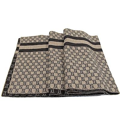 GUCCI 條紋GG LOGO經典長圍巾(褐咖)